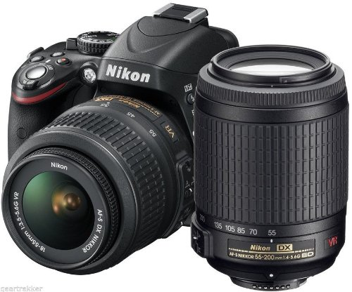 Nikon D3200 24.2 MP CMOS Digital SLR with 18-55mm VR and 55-