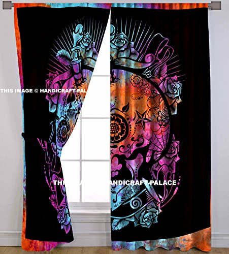 HANDICRAFT-PALACE Head of Skull Mandala Indian Style Centre Pattern Art Curtain 2 PC Traditional Hippie by ()