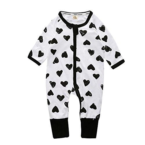 Kids Tales Baby Boys Girls Sleepwear Autumn Long Sleeve Heart Print Zipper Romper