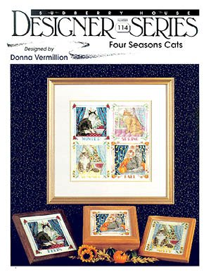Four Seasons Cats #114 - Cross Stitch Pattern (Stitch Cross Cat Black)