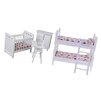Homyl Escala 1/12 Miniatura Muebles Litera Cuna Gabinete y Asiento ...