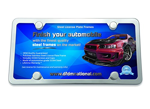 DFDM National License Plate Frame Stainless Steel Kit Mirror Buffed Finish, Includes SS Screws, Fasteners and Caps 4 Hole Frame - Standard Non Anti-Theft Model ()