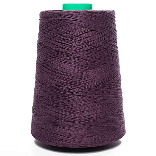 (100% Linen Yarn Cone | 3.000 Yards - 1 LBS - Dark Purple Color - 3 PLY Pure Flax Thread for Hand and Machine Sewing Weaving Crochet Embroidering)