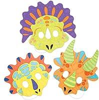 Baker Ross- Kits de caretas de dinosaurio para colorear (Pack de 8) - Manualidades infantiles de decorar caretas variadas de dinosaurios para llevar ...