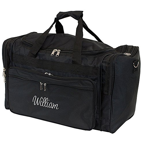 Personalized Mens Large Black Overnight | Gym Duffle Bag 22 (Personalized Gym Bags)