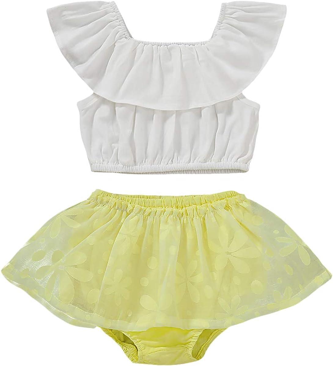 Toddler Baby Girls Clothes Skirt Set Ruffle Off-Shoulder Sleeve+Skirt Outfit Summer Short Set Clothing