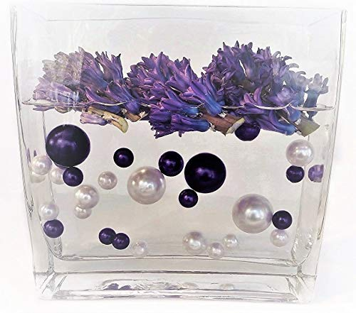 - 120 Floating Plum & White Pearls with Matching Gem Accents- Jumbo/Assorted Sizes Vase Decorations and Table Scatter + Includes Transparent Water Gels for Floating The Pearls