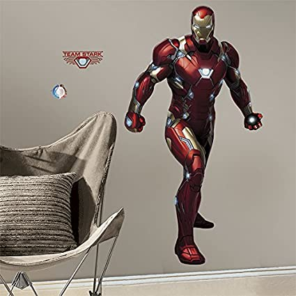 RMK3246GM Iron Man Civil War Peel and Stick Giant Wall Decals & RMK3246GM Iron Man Civil War Peel and Stick Giant Wall Decals ...