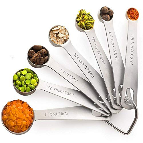 Palada - Stainless Steel Metal Measuring Spoons Set, Small Tablespoon to 1/8 Teaspoon, 7 Mini Measurement Spoons with Ring Holder, Bonus 10K Recipe E-book
