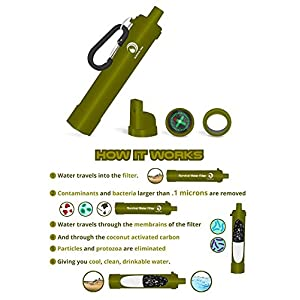 Water Filter Straw with .1 Micron Purifier for Camping & Hiking (Green)