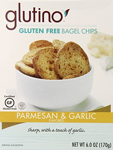Glutino Gluten Free Bagel Chips, Parmesan and Garlic, 6 Ounce (Pack of 6) by Glutino
