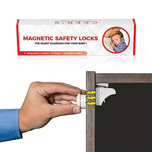 Strap Furniture Collections (Magnetic Cabinet Locks No Drilling - system by CEER'S | 8 Child Safety Locks & 2 Keys Set for any Drawer or Cabinet + 8 Outlet Covers + eBook Filled with Tips for Baby Proofing your Home)