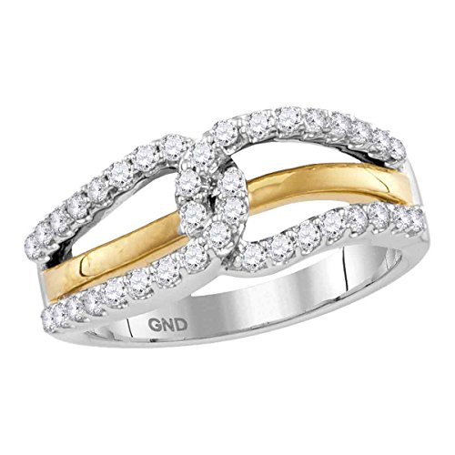 - 10kt Two-tone White Yellow Gold Womens Round Diamond Lasso Loop Band Ring 1/2 Cttw