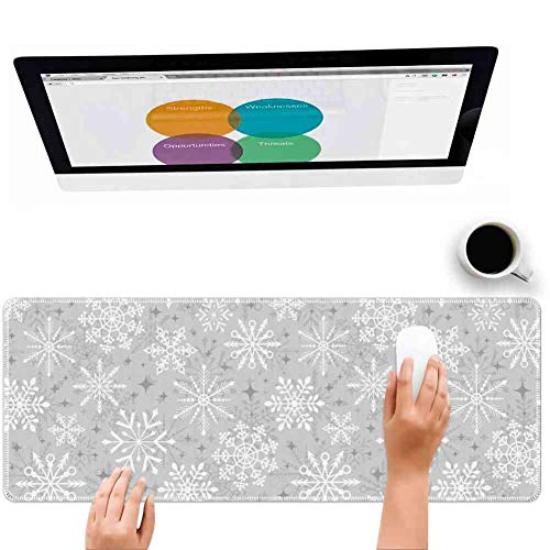 Mouse Pad Large Mousepad for Gaming Christmas Various Types of Ethnic and Tribal Snowflakes Arrows Stars in The Cold Winter Silver White Big Rubber Cloth Mat (31.5 x 11.8 x 0.12 Inch) ()