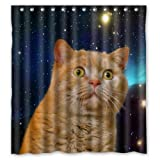 "Waterproof Bathroom Fabric Shower Curtain, Funny Open-eyed Cat in Galaxy Print Design 66"" x 72"""