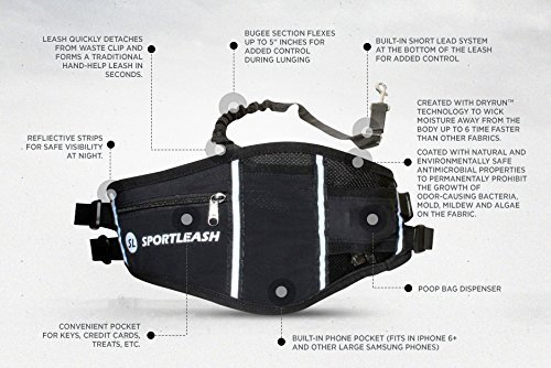 Hands-Free SportPack w/ Detachable Bungee Dog Leash by SportLeash