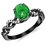 0.63 Carat 14K Black Gold Twisting Infinity Gold and Diamond Split Shank Pave Set Diamond Engagement Ring with a 0.5 Carat Natural Emerald Center (Heirloom Quality)