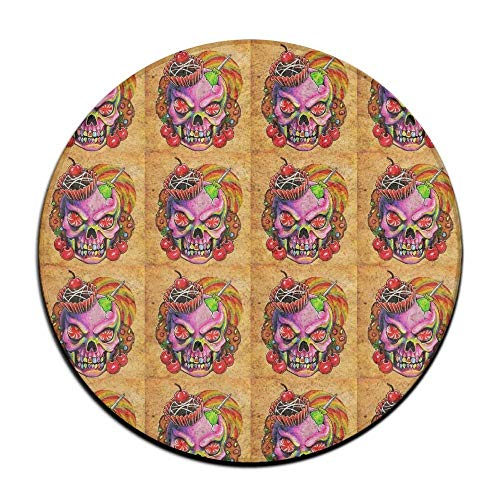 apron&Life Cherries and Sugar Skull Cupcake Round Floor Rug Doormats for Home Decorator Dining Room Bedroom Kitchen Bathroom Balcony