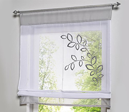 LivebyCare 1pcs Country Style Leaves Embroidered Roman Shades Ribbon Adjustable Organza Tab Top Rod Pocket Sheer Balcony Window Curtain for Study Room
