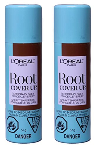 L'Oreal Paris Hair Color Root Cover Up Temporary Gray Concealer Spray, Light to Medium Brown, 2 Ounce, (Pack of 2)