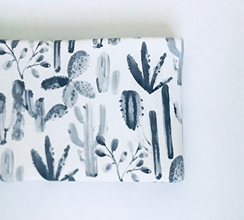 Changing Pad Cover - Charcoal Watercolor Cactus by Lullabies and Lollipops