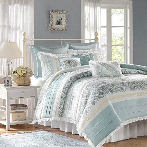Madison Park - Dawn 9 Piece Cotton Percale Comforter Set - Blue - Queen - Shabby Chic, Ruched & Paisley design - Includes 1 Comforter, 1 Bed Skirt, 2 Standard Shams, 2 Euro Shams, 3 Decorative Pillows