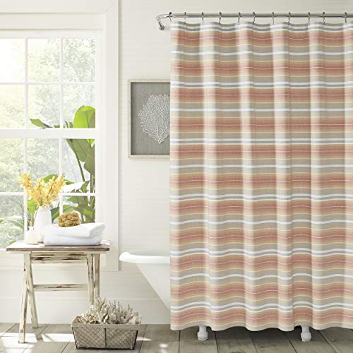 Tommy Bahama Sunrise Stripe Shower Curtain, 72 x 72, Coral