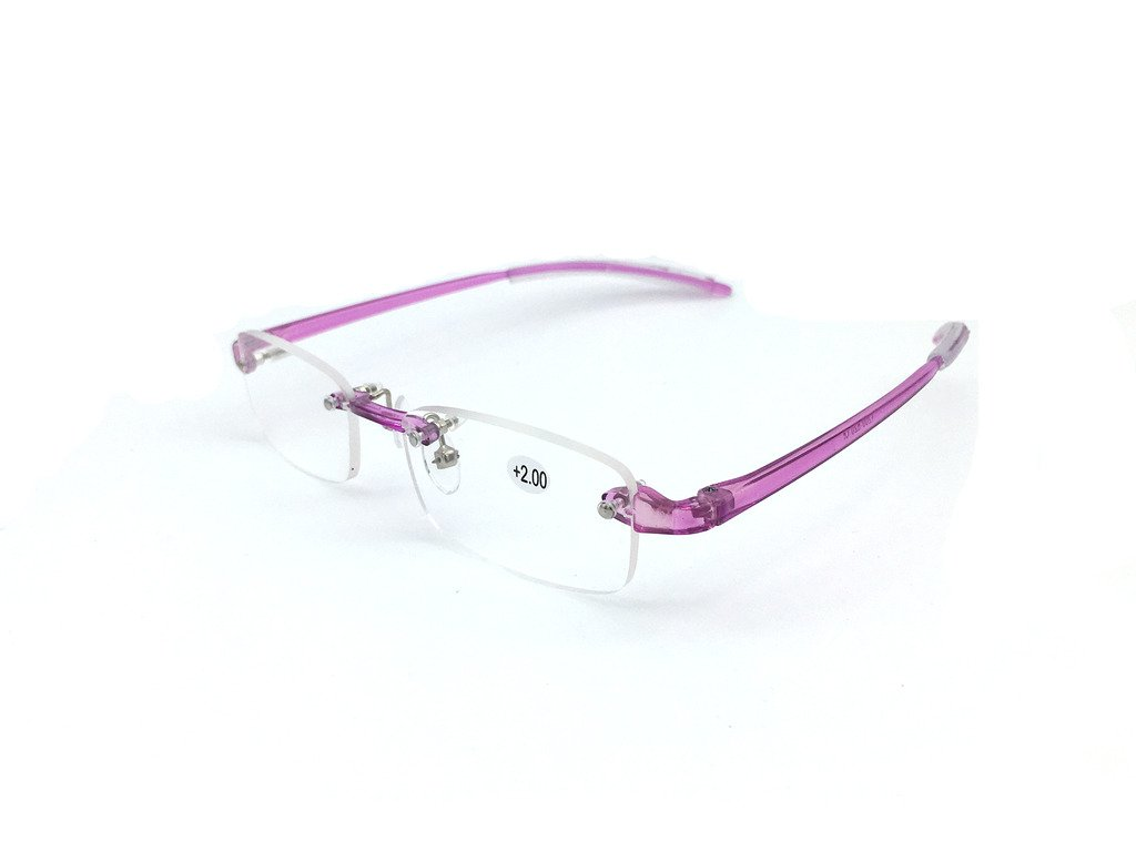 dfecadd3469 Jee mens womens designer Rimless light weight vintage fashion reading  glasses with case 620(purple