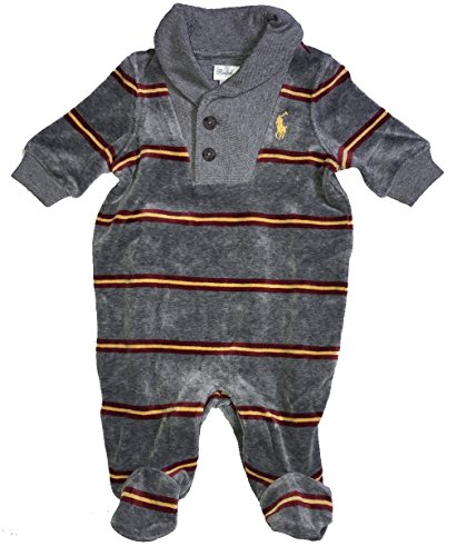 1cee21ea32cf Polo Ralph Lauren Baby Boy Infant Striped French Rib Velour Footed Coverall  Grey and Red (6 Months) - Buy Online in Oman.