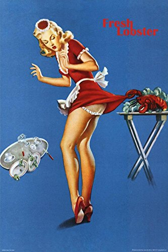 - (24x36) Fresh Lobster Blonde Waitress Pinched Retro Art Print Poster