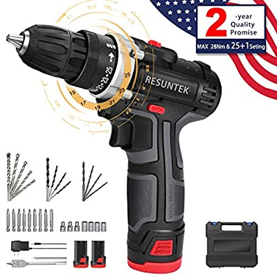 Cordless Drill Driver,12.8V 28Nm Compact Electric Drill Cordless Set, 2 Batteries 3900mAh, 25+1 Torque Setting,2-Speed Trigger Built-in LED,1/2in Chuck,1h Fast Charger/Carrying Case/31 Accessories
