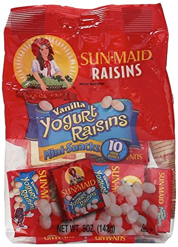 2 Bags Sun Maid Raisins Vanilla Yogurt Raisins 10 Mini Packs by SUN-MAID