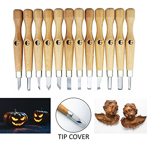Wood Carving Tools | Highly Durable SK7 Carbon Steel | 12 Sculpting Knives for Wood, Pumpkin, Soap, Rubber | Beautiful Box, Ready for Gift
