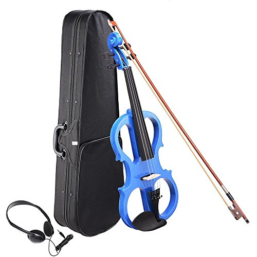 AW 4/4 Electric Violin Full Size Wood Silent Fiddle Stringed Instrument Bow Headphone Case Blue