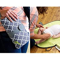 Babies Bloom Black/Brown Waterproof Portable Baby Diaper Changing Station - Mommy Clutch