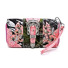 GMH Western Wallet - Camo Print Stud and Rhinestone Accented with Silver Buckle Wallet