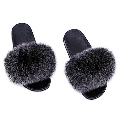 (Yu He Women Real Fox Fur Feather Vegan Leather Open Toe Single Strap Slip On Sandals Black 2 41)