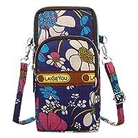 OTTATAT Women Men Nylon Shoulder Bag Multicolor Floral Prints Students School Outdoor Sports Arm Bag Phone Bag Waist Bag