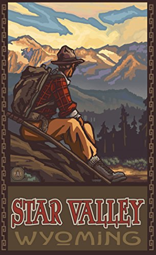 Northwest Art Mall PAL-6477 MHM Star Valley Wyoming Mountain Hiker Man 11x17 Print by Artist Paul A. - Valley Wyoming Mall