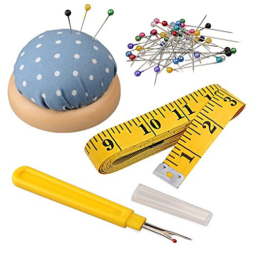 - Antkits Sewing Tools Kits Including Seam Ripper, 160 x Multicolor Glass Head Pins, Pin Cushion, and 120 Inch Soft Tape Measure for Sewing Tailor Cloth Ruler