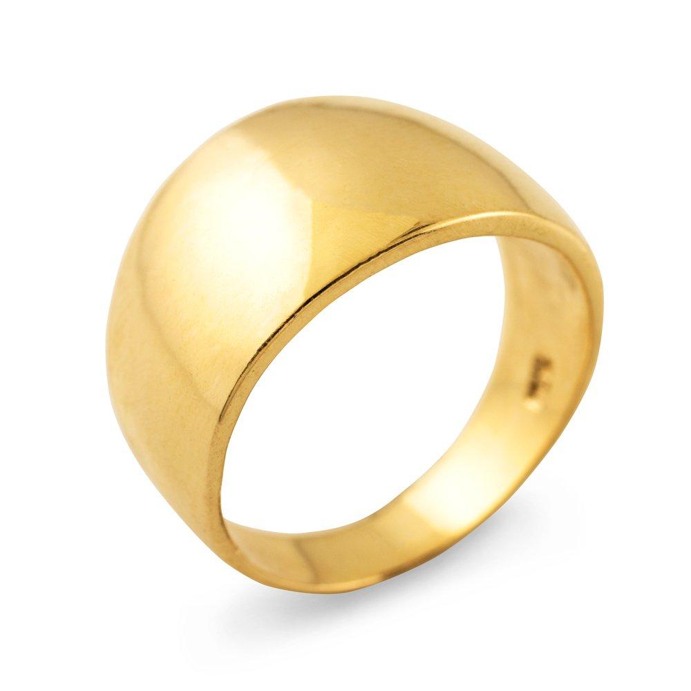 Cigar Ring Band in High Polish 10k Yellow Gold (Size 6.75)