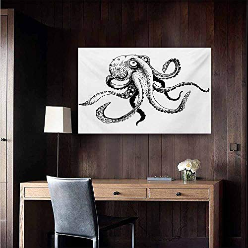 (duommhome Octopus Light Luxury American Oil Painting Smiling Shy Octopus Posing Restaurant Comic Fun Doodle Art Illustration Print Home and Everything 28