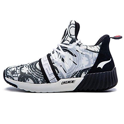 Onemix Chaussures De Course Pour Femmes Respirant Fille Sport Baskets Noir / Blanc