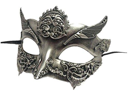 Women's Steampunk Half Adult Mask Venetian Silver Greek Roman Costume Accessory