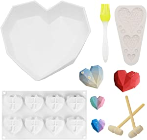 Diamond Heart Mousse Cake Mold Trays,Valentine's DayGift,include 2 Pieces Wooden Hammers and Chocolate Molds for Making Cake With 8 Cavities,Heart shaped button fondant mouldand Oil brush.
