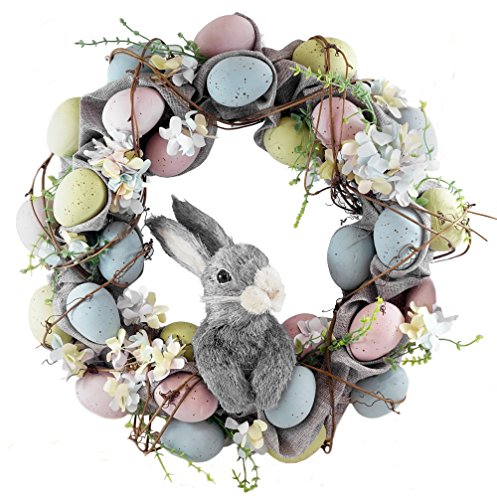 """Pastel Easter Eggs with Bunny Wreath - 18"""""""
