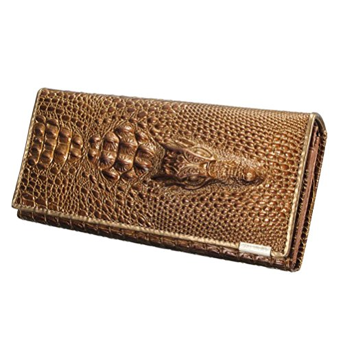 Women Split Leather Zipper Brown 3D Crocodile Credit Card Holder Long - Canada Sell Gift Cards