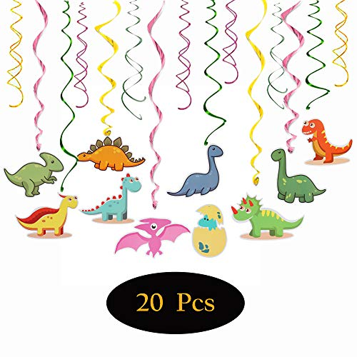 Cartoon Dinosaur Party Supplies Cute Mini Adorable Pom Kits Baby Shower First Birthday Kid's Happy Birthday Double Side Double Spiral Hanging Swirls Dino Party Streamers Decorations - 30'' x 20 pcs]()