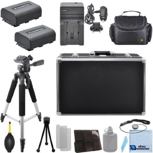 """2 NP-FV50 Batteries + Car/Home Charger + 57"""" Tripod for Sony HDR-XR155, HDR-XR160, HDR-XR260V, HDR-XR350, HDR-XR350E, HDR-R350V, HDR-XR550, HDR-XR550E, HDR-XR550V, HXR-MC50, & More.. Camcorder + Camera Case + Hard Case + Lens Blower + Complete Starter Kit & More"""