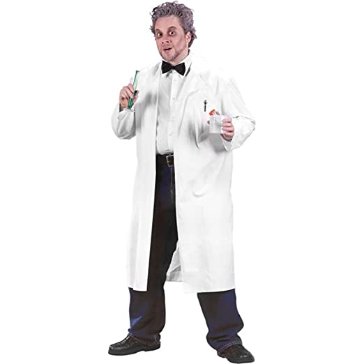 amazoncom adult professor white lab coat halloween costume size standard 42 46 clothing